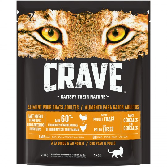 Crave Croq.dinde Chats  750g